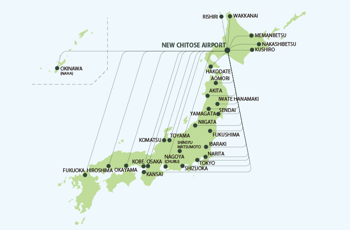 Domestic Air Routes to & from New Chitose Airport
