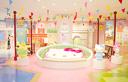 the garden circle of hello kitty located in the center of the cheerful and refreshing european plaza greets you you can experience exciting attractions