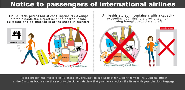 Notice to passengers of international airlines Liquid items purchased at consumption tax-exempt stores outside the airport must be packed inside suitcases and be checked in at the check-in counters. All liquids stored in containers with a capacity exceeding 100 ml(g) are prohibited from being brought onto the aircraft. Please present the